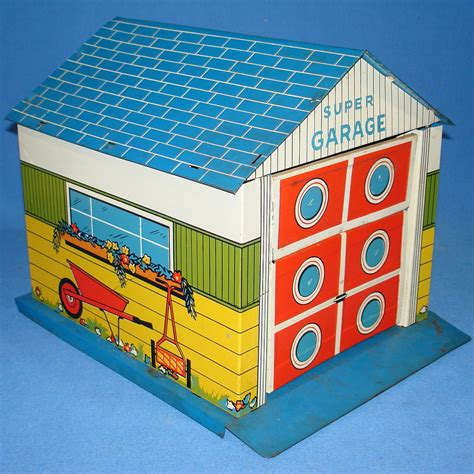 Garage Tin by Vintage Tin Litho Garage Doll House Accessory
