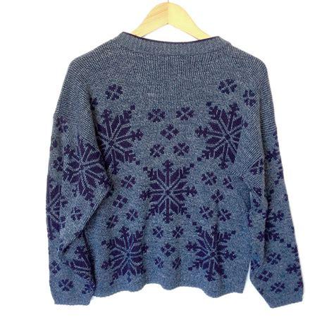 Sweater Rajut Collar bllue snowflake design sweater aztec sweater dress