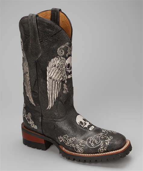 skull boots johnny ringo boots black leather c toe skull western boot