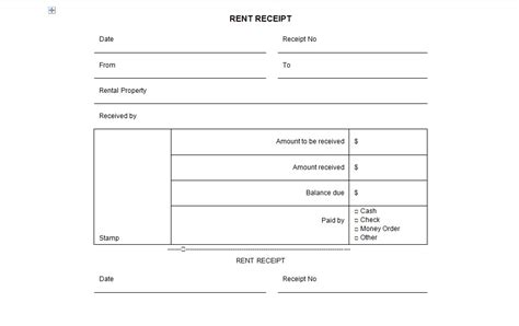 money rent receipt template receipt template word template business