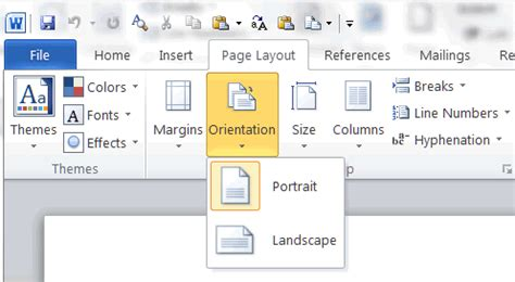 microsoft word in landscape layout word prosessor mind42