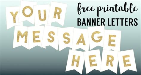 Gold Free Printable Banner Letters Paper Trail Design Customizable Banner Template