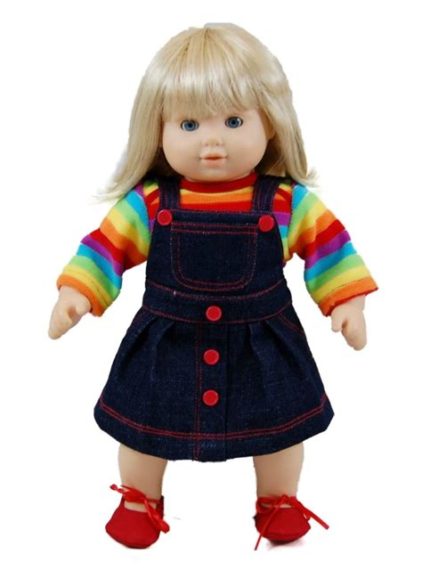 Twones Baby Doll Shirt rainbow skirt for 15 quot american 168 bitty baby doll clothes