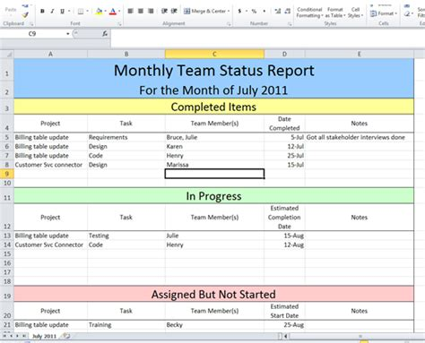 monthly project status report template light color