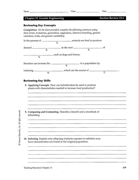 Chapter 13 Worksheet Answers
