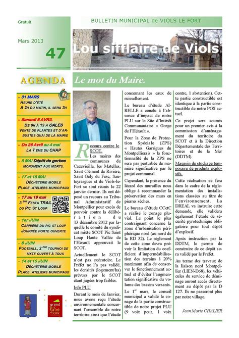 Les Matelles Hérault by Calam 233 O Bulletin Municipal De Viols Le Fort N 176 47 Mars 2013