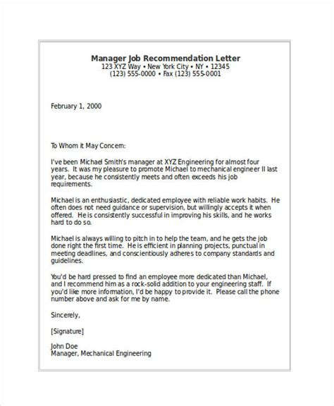 Manager Recommendation Letter 79 Exles Of Recommendation Letters