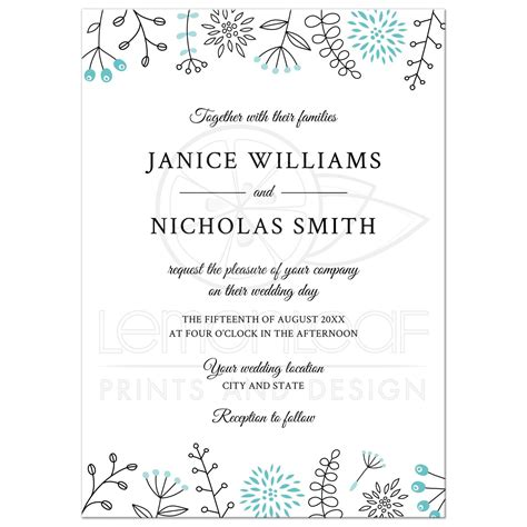 doodle wedding stationery modern wedding invitation with nature and flower doodle