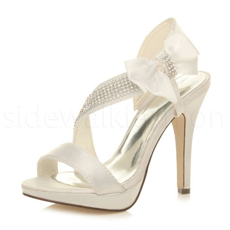 braut sandalen womens ladies wedding bridal strappy party prom high heel