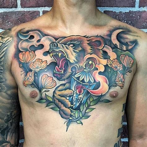 chest tattoo bear best 25 full chest tattoos ideas on pinterest mens full