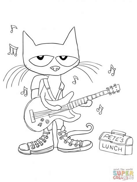 preschool coloring pages cats rockin pete the cat coloring page preschool literature