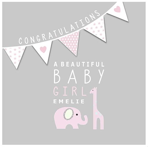 Good Gift Cards For Girls - new baby girl personalised congratulations card little letters with love