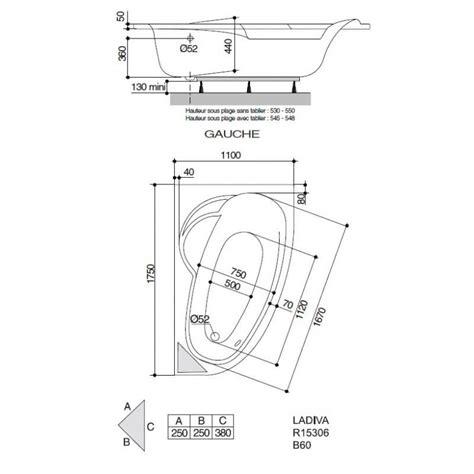 baignoire 110 cm baignoire ladiva aquarine 175 x 110 cm version gauche avec