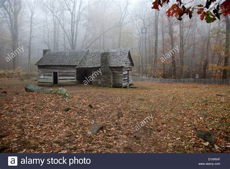 Mist Cabin by An Log Cabin In The Woods With A Morning Mist Hanging
