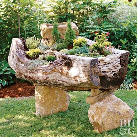 DIY Tree Trunk Garden
