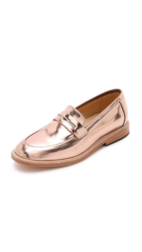metallic loafers for dieppa restrepo metallic loafers gold in