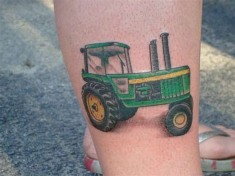 tractor tattoos simple tractor on leg tattoomagz