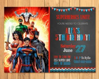 justice league printable birthday cards justice league birthday etsy