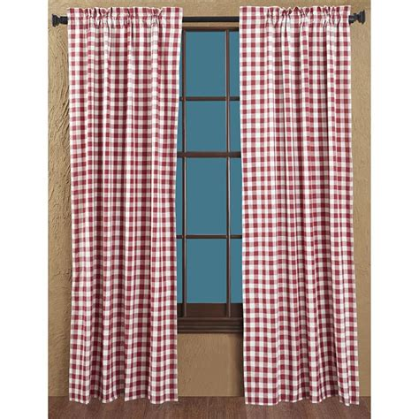 checked curtain panels buffalo red check short curtain panels 63 quot x 36 quot