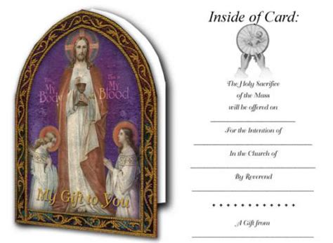 mass card template catholic stationery