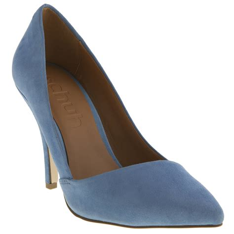 schuh womens pale blue suede formal high heels court shoes