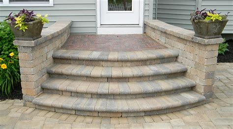 Paver Patio Steps Many Styles Of Paver Steps Landscaping Outdoor Kitchens Outdoor Living In Columbus Ohio
