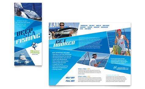 fishing charter and guide brochure design template by