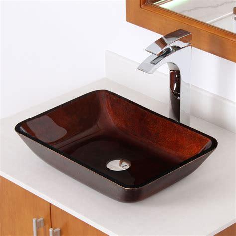 elite bathroom sinks elite 1407 rectangle artistic bronze tempered glass vessel