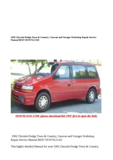 service repair manual free download 1992 chrysler town country navigation system 1992 chrysler dodge town country caravan and voyager workshop repair service manual best