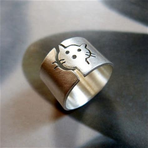 cat ring sterling silver ring wide band ring metalwork