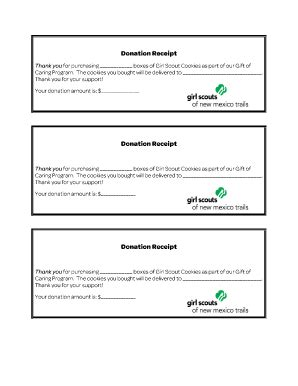 scout cookie receipt template donation receipt template forms and templates fillable