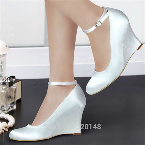 wedges white ivory high heel ankle pumps toe satin bridesmaid wedding