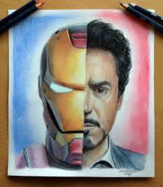 color pencil sketch iron tony stark color pencil drawing by atomiccircus