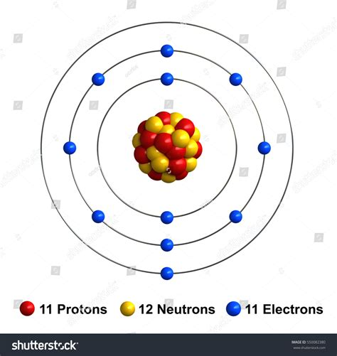 Sodium Of Protons by 3d Render Atom Structure Sodium Isolated Stock