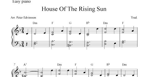 sun house music free piano sheet music score house of the rising sun