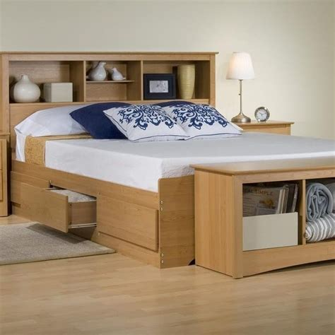 size storage headboard platform storage bed w bookcase headboard maple
