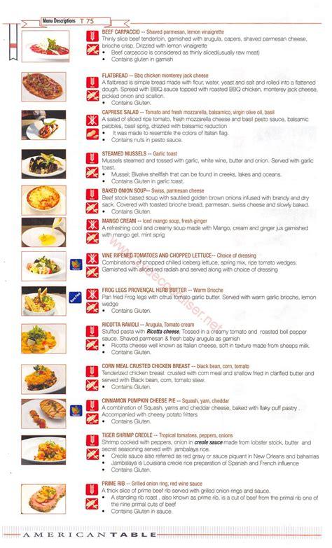 carnival american table american feast menus