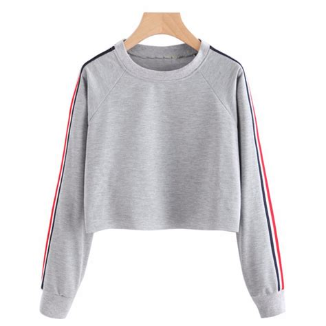 women crop top hoodie  spring casual long sleeve