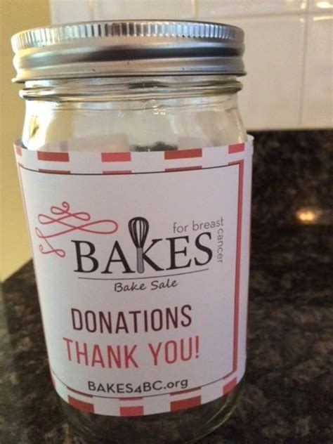 Donation Jar Label Template Office Bake Sale And Bakes For Breast Cancer Bake Sale Donation Jar Keep With Breast Cancer