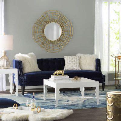 beautiful modern navy gold  white living room