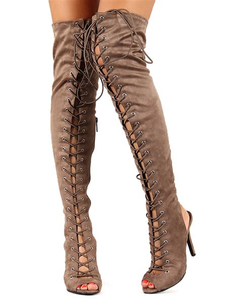 breckelles randi 23 new suede lace up back cut out