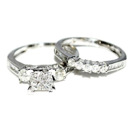 white gold bridal set wedding rings 9ct just