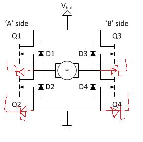 freewheeling diode zener mosfet where do you put the gate protection zener diode in an nmos h bridge electrical
