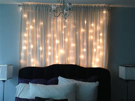 diy christmas light curtain headboard