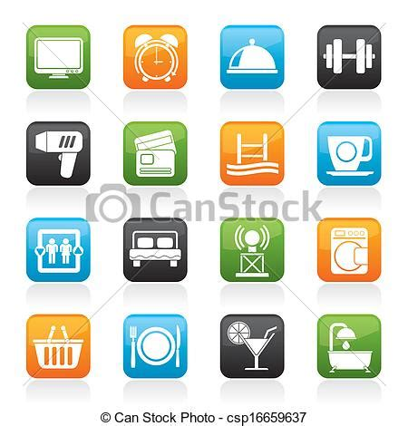 rent house com vectors of hotel and motel facilities icons vector icon set csp16659637 search