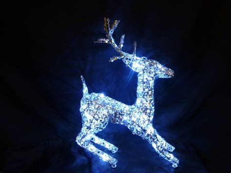 christmas decorations light up 50cm silver reindeer led