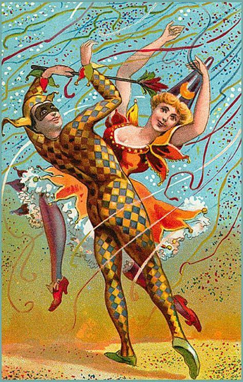 vintage mardi gras mardi gras costumed vintage illustration mardi