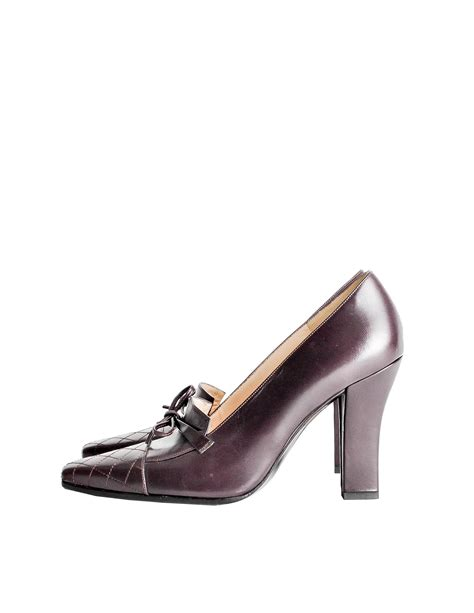 chanel quilted loafers chanel vintage quilted eggplant loafer heels from
