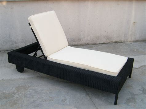 patio black adjustable rattan sun lounger  white cushion