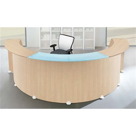 Semi Circular Shape Reception Desk Oak Glass Counter Top Circular Reception Desk